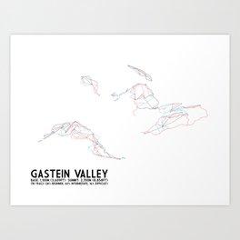 Gastein Valley, Salzburg, Austria - EUR Edition (Unlabeled) - Minimalist Trail Art Art Print