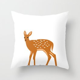 Baby Deer and Snow Throw Pillow