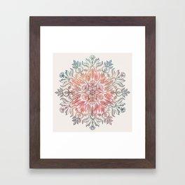Autumn Spice Mandala in Coral, Cream and Rose Framed Art Print