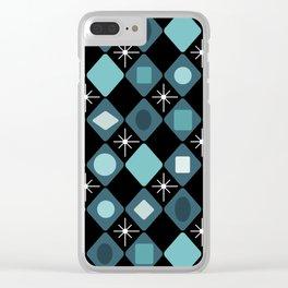 Mid Century Modern Black & Turquoise Diamonds Clear iPhone Case