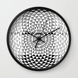 Black White Geometricals With Mandala Wall Clock