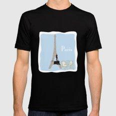 Paris in Powder Blue Black Mens Fitted Tee MEDIUM