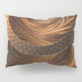 Earthen Brown Circular Fractal on a Woven Wicker Samurai Pillow Sham