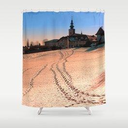 Beautiful village in winter wonderland | landscape photography Shower Curtain