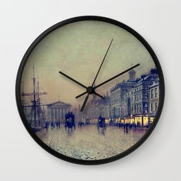 Greenock dockside by night by John Atkinson Grimshaw Wall Clock