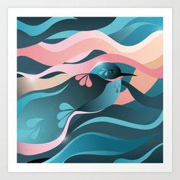 Humming Bird In Summer Vibes Color/ Vector Bird Lovers Art Print
