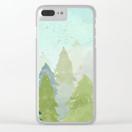 Merry Xmas- Teal Winter Forest Clear iPhone Case