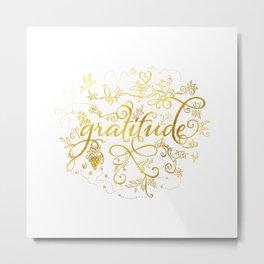 Gratitude Gold Text Metal Print