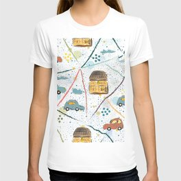 Seamless Pattern with Hand Drawn Cars T-shirt