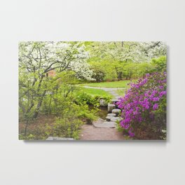 Asticou Azelea Garden In Spring Photograph on Mount Desert Maine Metal Print
