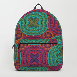Jewel Tone African Fabric Geometry Backpack