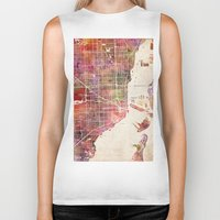 miami Biker Tanks featuring Miami by MapMapMaps.Watercolors