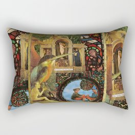 She walked with great dignity, collage.  Rectangular Pillow