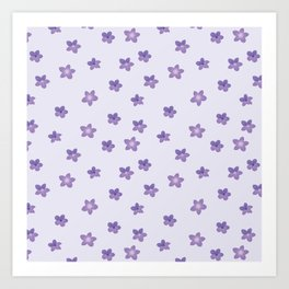 Abstract lilac violet lavender modern floral pattern Art Print