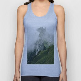 Switzerland Mountain Range in the Clouds - Landscape Photography Unisex Tank Top