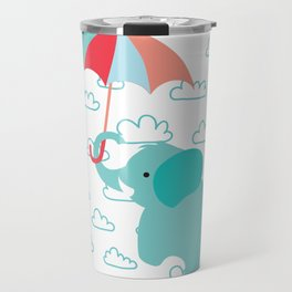 Elephant with umbrella , nursery decor , Travel Mug