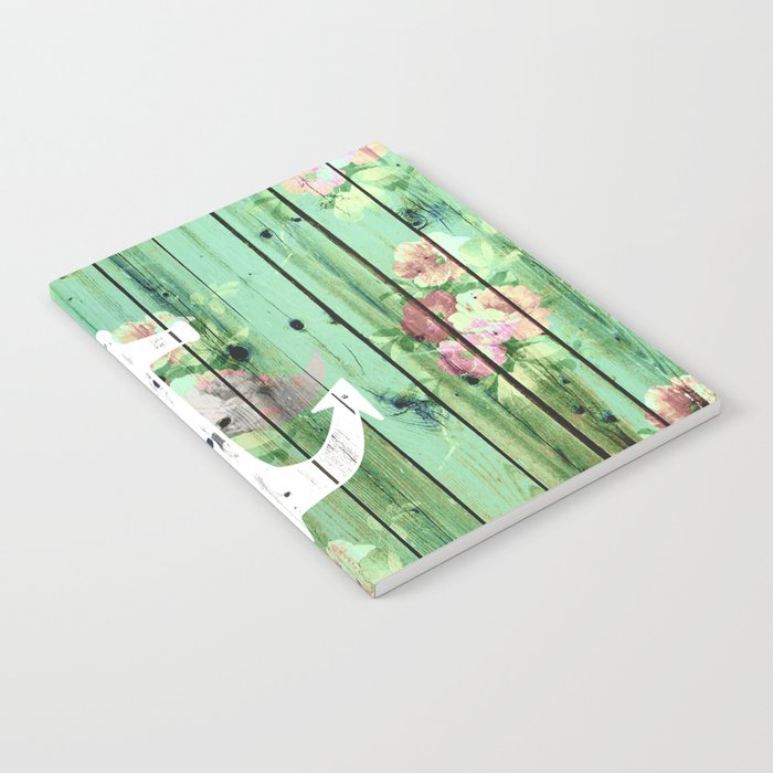 Vintage Floral Nautical Anchor Green Beach Wood Notebook
