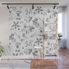 Hummingbirds and Flowers Wall Mural