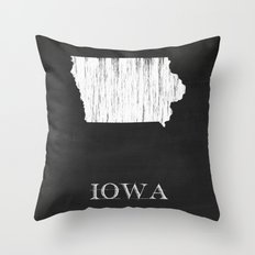 Iowa State Map Chalk Drawing Throw Pillow