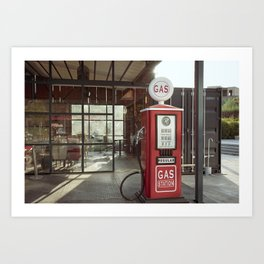 Vintage gas station in a small town Art Print