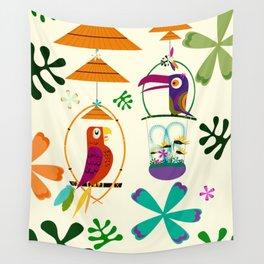 Vintage Modern Tiki Birds Wall Tapestry