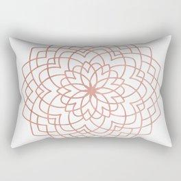 Mandala Blossom Rose Gold on White Rectangular Pillow