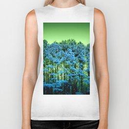 Blue Trees Green Sky Biker Tank