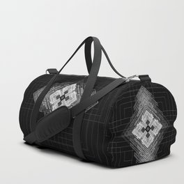 White fractal geometric shapes with compass symbol Duffle Bag