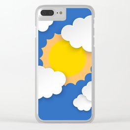 Blue sky with clouds and sun Clear iPhone Case
