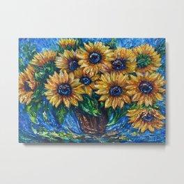 Sunflower Love Palette Knife Original Artwork  Metal Print