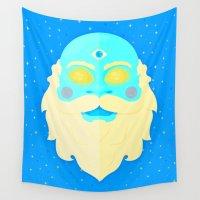 santa Wall Tapestries featuring Santa Cosmos by badOdds