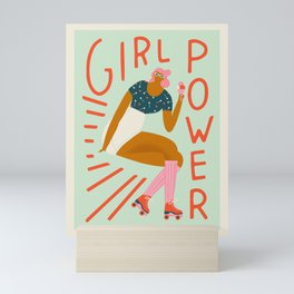 Roller skating girl Mini Art Print