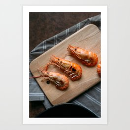 Grilled shrimps on wooden board Art Print