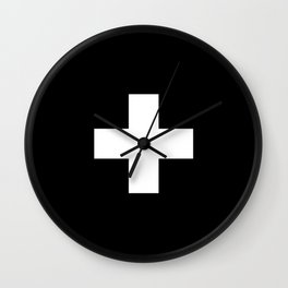 Swiss Cross Black and White Scandinavian Design for minimalism home room wall decor art apartment Wall Clock