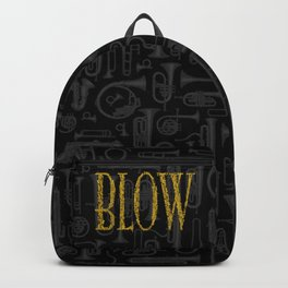 Blow BLACK & GOLD / Horn instruments forming type and background Backpack