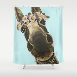 Blue Flower Crown Donkey, Donkey Art Shower Curtain