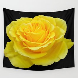 Beautiful Yellow Rose Flower on Black Background Wall Tapestry