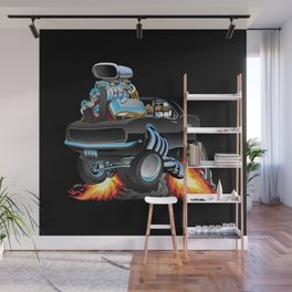 Classic Sixties American Muscle Car Popping a Wheelie Cartoon Illustration Wall Mural