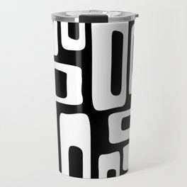 Retro Mid Century Modern Abstract Pattern 335 Black and White Travel Mug
