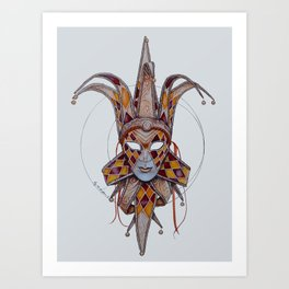 Male Venetian Jester Mask | Watercolor and Colored Pencil  Art Print