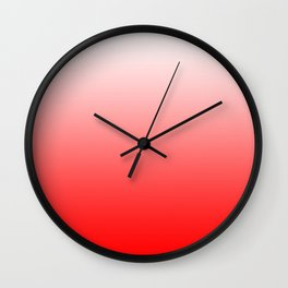White and Red Gradient 021 Wall Clock