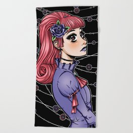 Pink Hair Gothic Lolita Beach Towel
