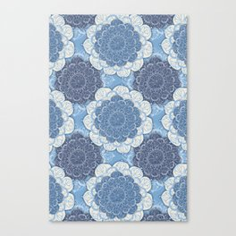 Lacy Blue & Navy Mandala Pattern  Canvas Print