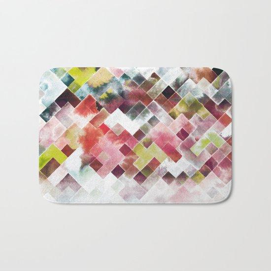 Moody watercolor patchwork Bath Mat
