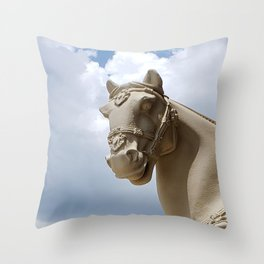 Stone Horse Head 2 Throw Pillow