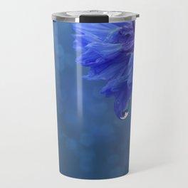 Beautiful blue Flower Macro. Water drops Travel Mug