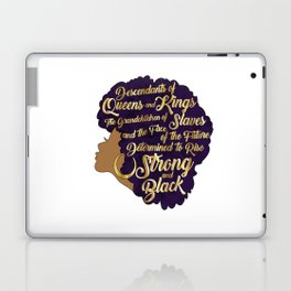 Black Girl Magic - Descendants of Queens and Kings Determined To Rise Faux Gold Afro Woman Laptop & iPad Skin