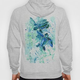 Turquoise Blue Sea Turtles in Ocean Hoody