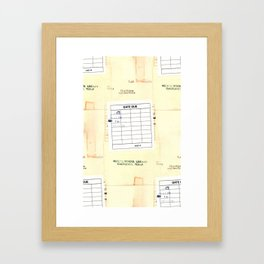 Library Book Date Due Card Framed Art Print