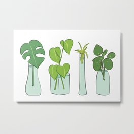 Plants in water bottles, colorful hand drawn illustration art Metal Print